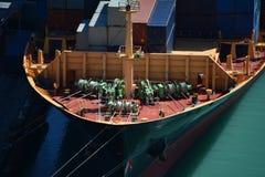 De boog van het containerschip Stock Afbeelding