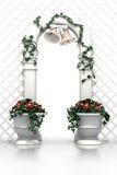 De boog van het huwelijk met klokken en bloemen Stock Fotografie