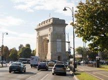 De Boog van Triumph - 26m granietboog ingebouwd geheugen van WWI-troepen, met interne treden voor stadsmeningen over Arc de Triom Stock Fotografie