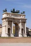 De boog van Vrede in Milaan Royalty-vrije Stock Afbeelding