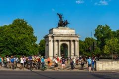 De booggedenkteken van Wellington aan Hertog in Londen, Engeland, het UK royalty-vrije stock afbeelding