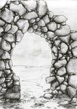 De boogschets van de steen vector illustratie
