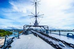 De boogsectie van het museumslagschip USS Missouri royalty-vrije stock fotografie
