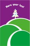 De boom die van de Kerstmispijnboom zich ver weg in de heuvels bevinden Stock Foto