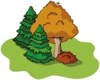 De boom en de sparren van de herfst Royalty-vrije Stock Afbeelding