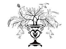 De boom en de vogels van het ontwerp stock illustratie