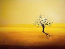 De boom is opgedroogd, die als mens die op een woestenij de betekenis van het leven zoeken eenzaam is royalty-vrije illustratie