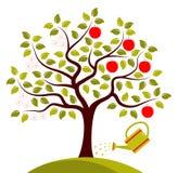 De boom van Apple in twee seizoenen Royalty-vrije Stock Foto