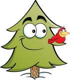 De boom van de beeldverhaalpijnboom met een vogel op het de tak van ` s Royalty-vrije Stock Foto