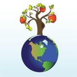 De boom van de appel ter wereld vector illustratie