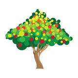 De boom van de appel Vectorillustratie op wit Stock Foto's