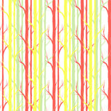 De boom van de berk Naadloos patroon Vector fabricDesign element voor behang, websiteachtergrond, de uitnodiging van de babydouch stock fotografie