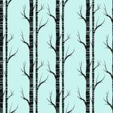 De boom van de berk Naadloos patroon Vector fabricDesign element voor behang, websiteachtergrond, de uitnodiging van de babydouch stock afbeelding