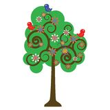 De boom van de bloesem met vogels het zingen Stock Foto's