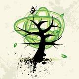 De boom van de kunst, grunge achtergrond Stock Afbeelding