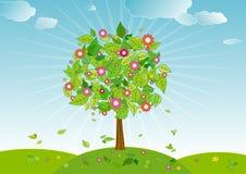 De boom van de lente, vector   Royalty-vrije Stock Afbeeldingen