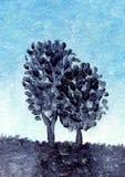 De boom van de olieverfschilderijwoestijn Stock Afbeelding