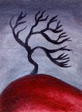De boom van de olieverfschilderijwoestijn Stock Fotografie