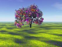 De boom van de regenboog in de afstand Royalty-vrije Stock Afbeeldingen
