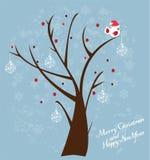 De boom van de sneeuw met vogel Stock Fotografie