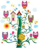 De boom van de uil ` s royalty-vrije illustratie