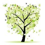 De boom van de valentijnskaart, liefde, blad van harten Stock Afbeelding
