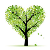 De boom van de valentijnskaart, liefde, blad van harten Stock Afbeeldingen