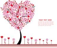 De boom van de valentijnskaart met bloemen en harten Stock Foto's