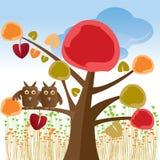 De boom van de valentijnskaart met uilen Stock Fotografie