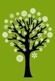 De boom van de winter met sneeuwvlokken Stock Foto