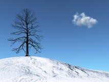 De Boom van de winter op een sneeuwheuvel Vector Illustratie