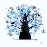 De boom van de winter, sneeuwvlokken. De vakantie van Kerstmis. Stock Foto's