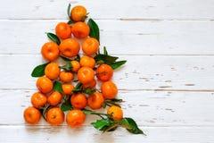 De boom van het Kerstmisnieuwjaar van mandarijnen op witte houten achtergrond Royalty-vrije Stock Afbeeldingen