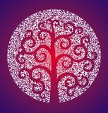 De boom van het leven tegen de achtergrond van openwork witte mandala Vector grafiek stock foto