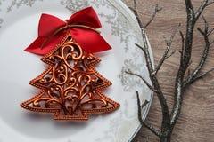 De boom van het nieuwjaar op de plaat Royalty-vrije Stock Foto