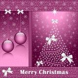 De boom van Kerstmis, ballen en bogen Stock Afbeelding