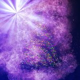 De Boom van Kerstmisbokeh op lichte straalachtergrond stock illustratie