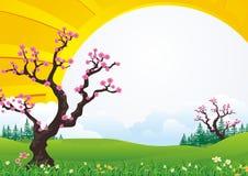 De boom van de pruimbloesem Met mooi landschap vector illustratie