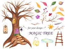 De boom van de waterverffee voor ontwerp stock illustratie