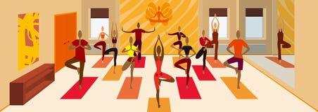De boom van de yogaklasse stelt variatiesbanner stock illustratie