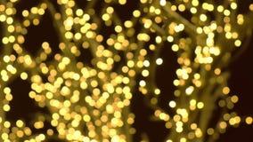 De boom was verfraait garlandswit gouden bollen Kerstmisstraatlantaarns Close-upmening, onduidelijk beeld stock footage