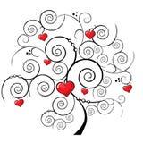De boomachtergrond van de valentijnskaart Stock Afbeelding