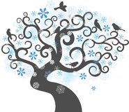 De boomachtergrond van de winter. vector illustratie Stock Afbeelding