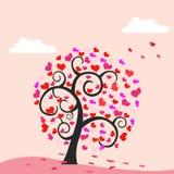 De boomachtergrond van harten - valentijnskaartthema royalty-vrije illustratie