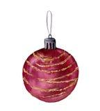 De boombal van waterverfkerstmis Hand geschilderd die stuk speelgoed voor Kerstmisboom op witte achtergrond wordt geïsoleerd Voor Royalty-vrije Stock Afbeelding