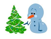 De boombeeldverhaal van de Kerstmissneeuwman Stock Fotografie