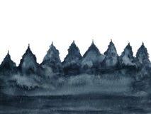 De boompijnboom van het waterverflandschap op witte achtergrond wordt geïsoleerd die royalty-vrije illustratie