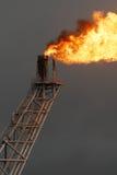 De boompijp en brand van de gloed op zeebooreiland royalty-vrije stock foto