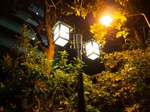 De boomschemering van de lamp Lichte Straat stock foto's