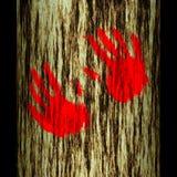 De boomstam van de boom: handen Stock Foto's